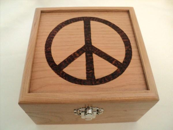Natural Cherry Wood Peace Sign Woodburned Box Symbol