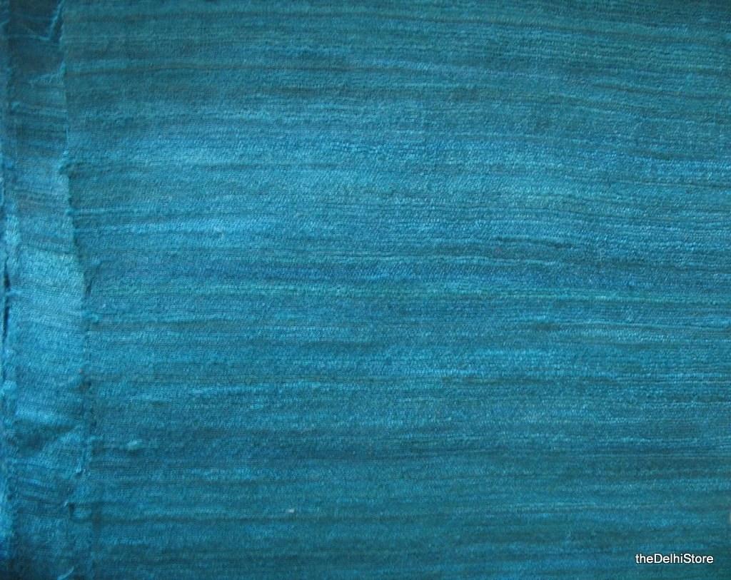 Homespun Pure Raw Silk Fabric in Teal Color