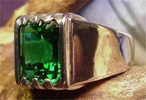 Mens Mt St Helens Helenite 10x8 Emerald Ring by wwwboldjewelrycom