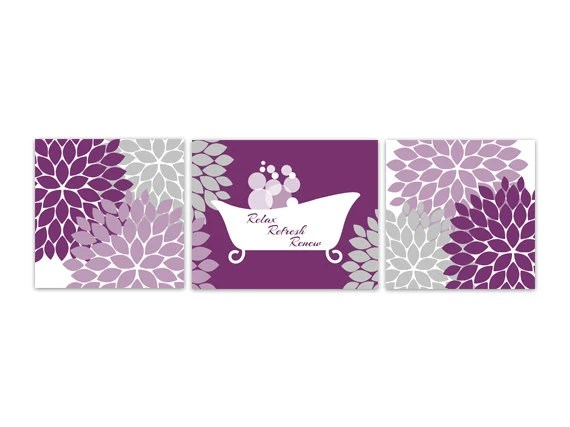 bathroom wall art purple bathroom decor instant download