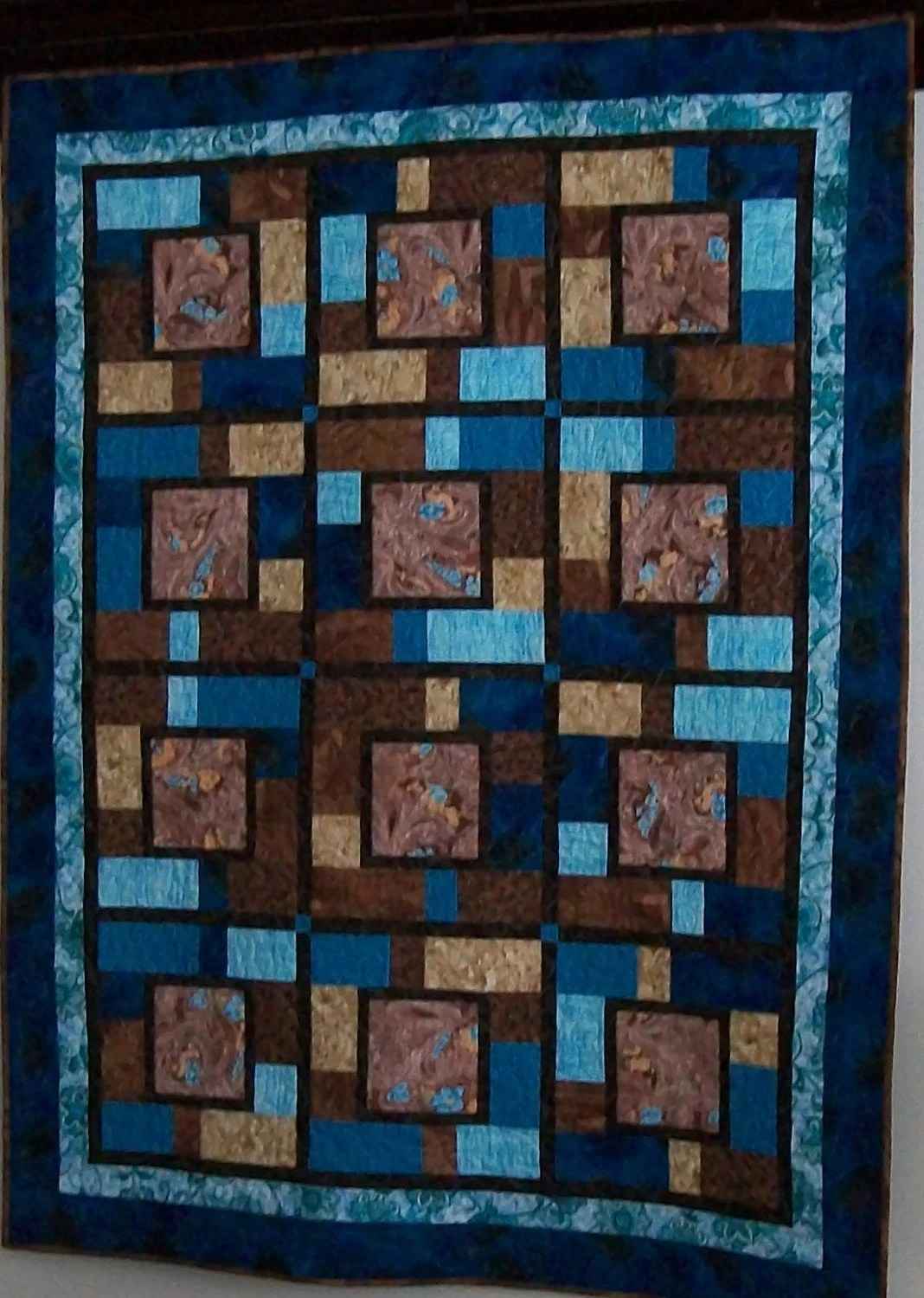 Blue brown throw quilt turquoise tile blanket large