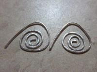 Spiral Triangular Hoop Earrings 18 gauge