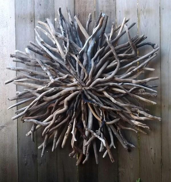 Driftwood Sun Wall Sculpture Hand Art Outdoor