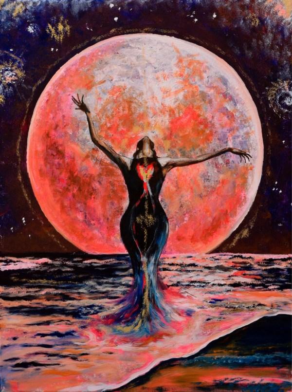 Pink Moon Ocean Goddess Yemanja Star Galaxy Visionary Art