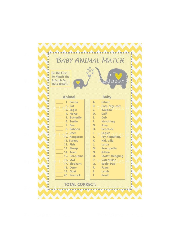 Baby Animal Match Game Baby Animal Name Game Yellow Chevron