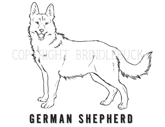 Items similar to German Shepherd Dog Coloring Page, child
