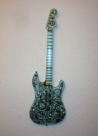 Steampunk wall art guitar. Repurposed upcycled recycled
