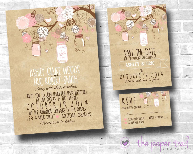 Wedding Invitation Rsvp Date: Mason Jar Wedding Invitation Set Suite
