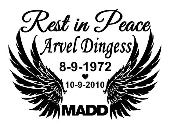 Rest in peace window decal for car or truck by