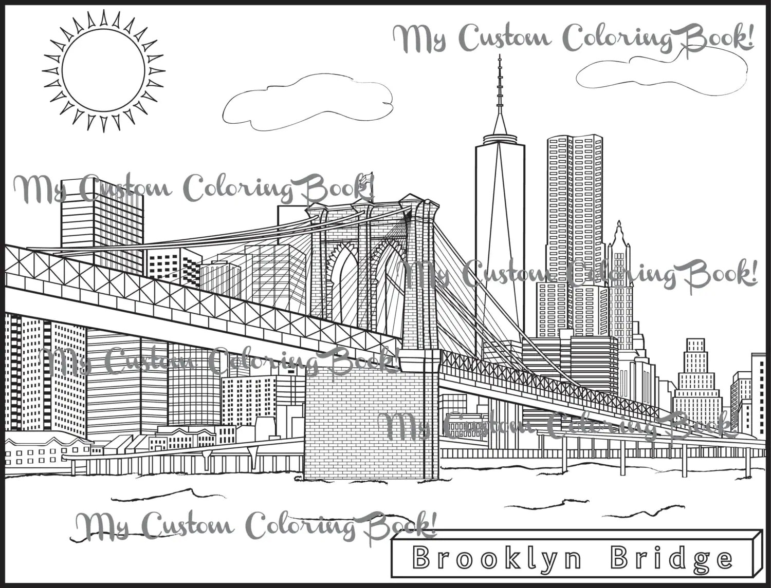 Download Brooklyn Bridge Coloring Page