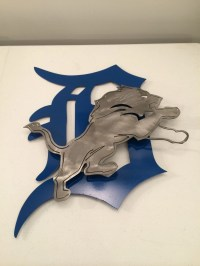 Detroit lions 2D wall art metal sign custom by MetalArtDesignz