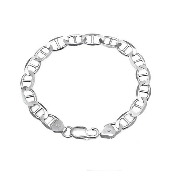925 Sterling Silver Unisex Mariner Chain Link Bracelet 7.5