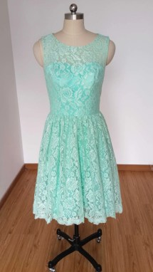 Mint Green Lace Bridesmaid Dress