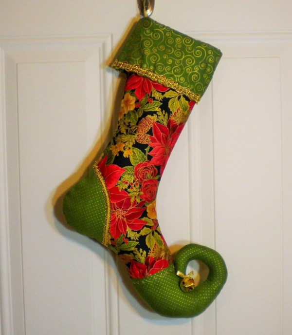 Christmas Stocking With Curly Elf Toe In Poinsettia Print