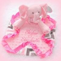 Items similar to Personalized plush elephant baby lovie ...