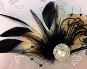 Champagne Wedding, Wedding Fascinator, Wedding Hair, Wedding Comb, Bridal Fascinator, Feather Hair Clip, Bridal Comb, Champagne and Black