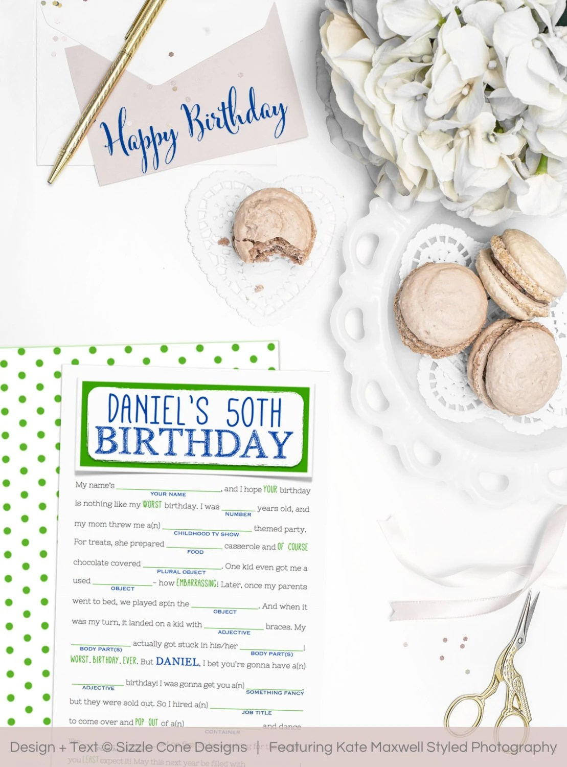 Birthday Mad Libs Adult Birthday Party Game By