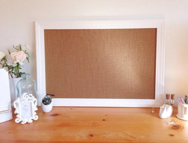 Large Framed Burlap Bulletin Board Memo Office Decor