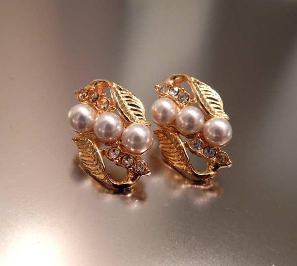 Vintage Rhinestone Faux Pearl Earrings Gold Leaves
