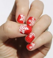 red snowflake nail wraps