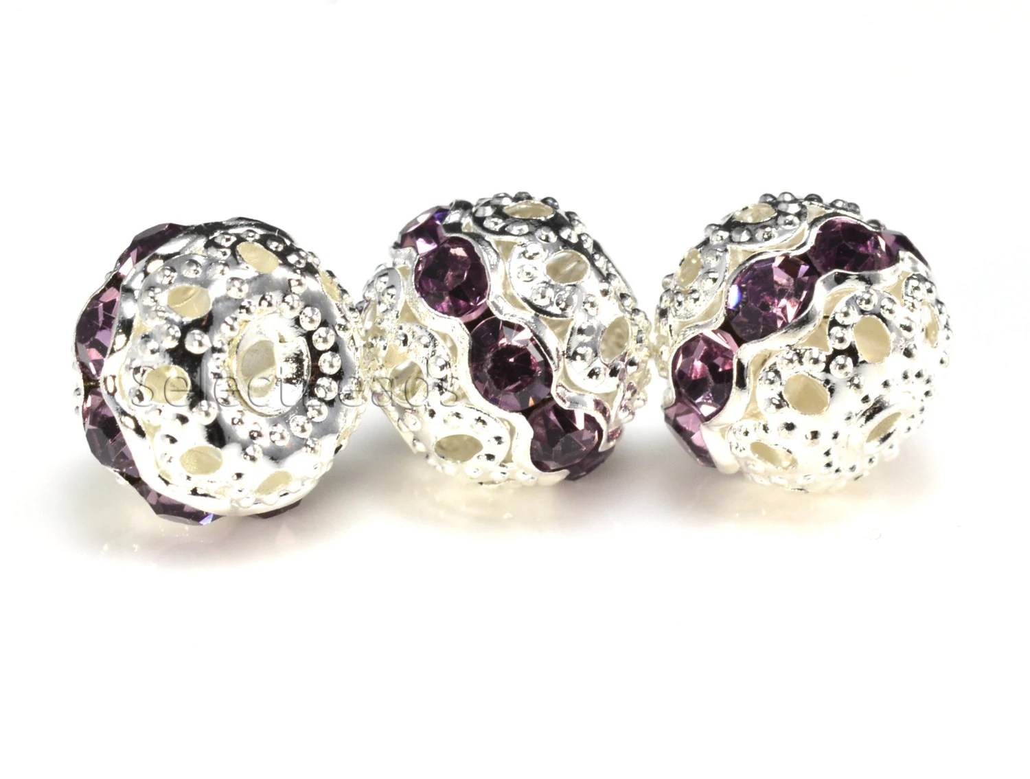 light purple rhinestone bead purple bead
