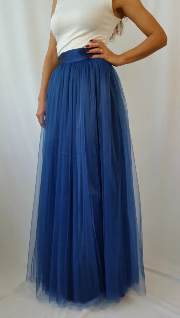 Navy Blue Tulle Skirt Long Women Tutu Maxi Princess