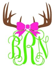 antler and bow monogram vinyl decal