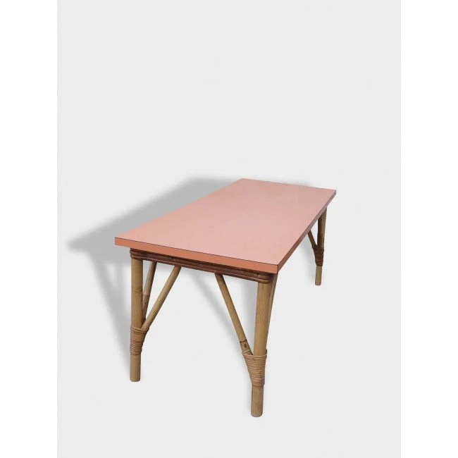 Large Rectangular Coffee Table Formica Rattan Feet Mid