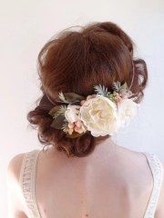 white peony hair accessories bridal