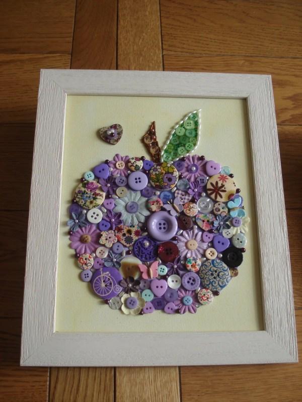 Handcrafted Canvas Wall Art Buttons Beads & Gems