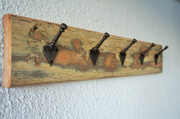 Reclaimed Wood Medium 5 Peg Coat Rack Rustic Shabby Chic Style