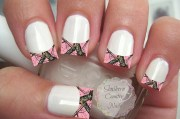 pink camo french tip nail art decals