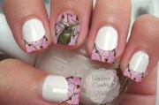 pink camo deer french tips