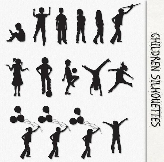 Children Clip Art Kids Silhouette Graphics Clipart Scrapbook
