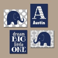 BOY Elephant Wall Art Navy Blue Boy Elephant Nursery Baby Boy