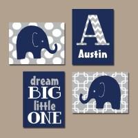BOY Elephant Wall Art Navy Blue Boy Elephant Nursery Baby Boy