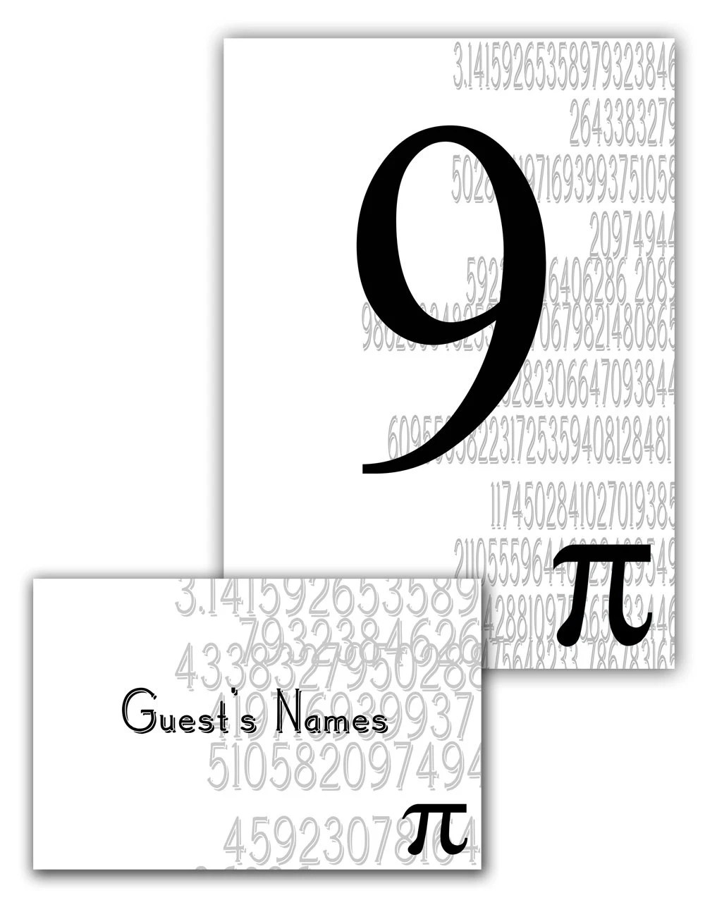 Pi Day Graphic Name Card and Table Number by YesUMaystationery