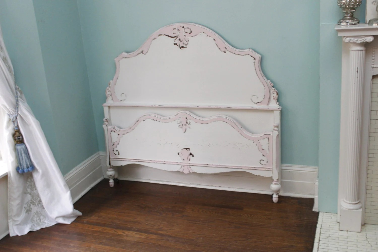 Antique Full Bed Frame Shabby Chic Distressed Pink White