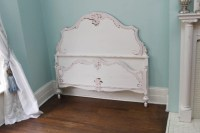 antique full bed frame shabby chic distressed pink white ...