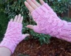 Light Pink and Silver Metallic Glitter Handmade Fingerless Mitten Handwarmers