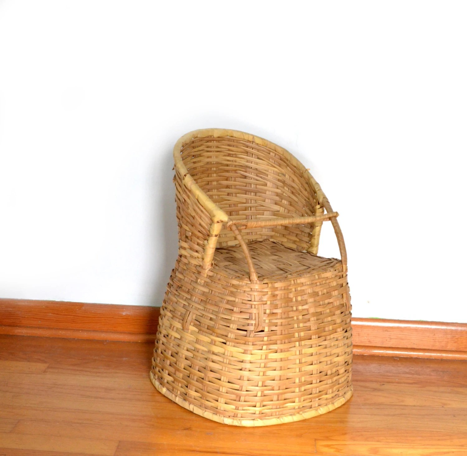 high chair basket industrial style chairs wicker vintage antique baby doll