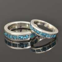 Kingman Spider Web Turquoise Wedding Ring Set in Sterling