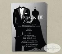 Silver Black Tie Invitation INSTANT DOWNLOAD Faux Foil