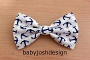 navy anchor fabric hair bow