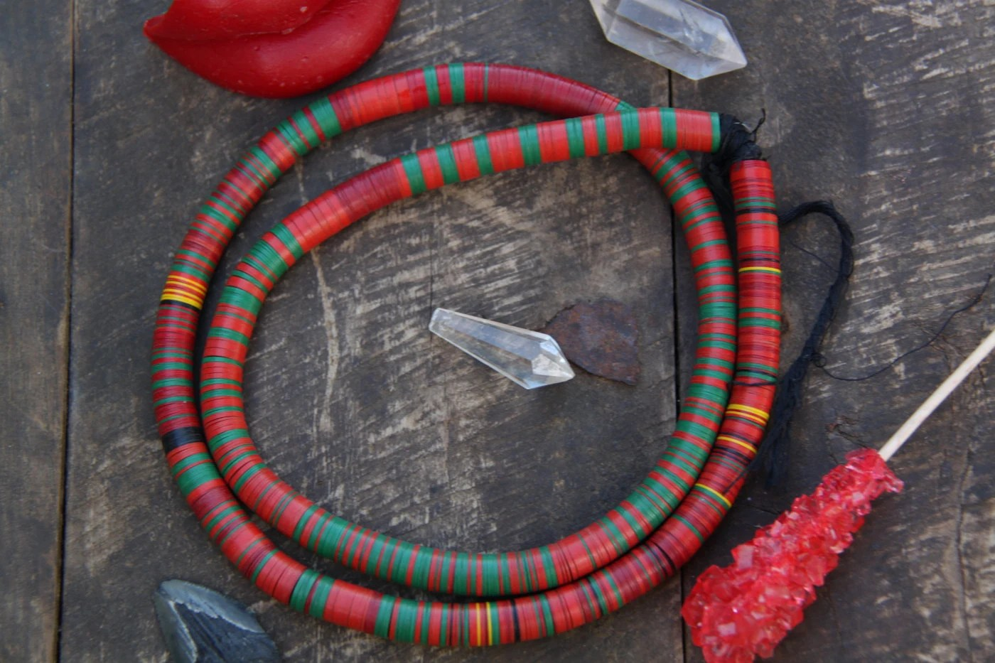 Red Amp Green Vintage African Vinyl Record Disc Beads 10mm
