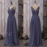 2017 Chiffon Steel Blue Bridesmaid Dress Long Wedding Dress