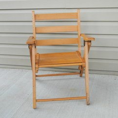 Wooden Slat Chairs Great Northern Chair Company Vintage Childs Wood With Arm Rests Folding Flat For
