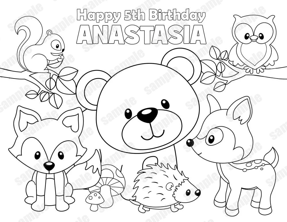 Baby Woodland Animals Coloring Pages Sketch Coloring Page