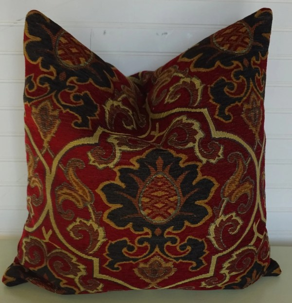 Red Chenille Pillow Cover With Navy And Sand Suzani 18x18