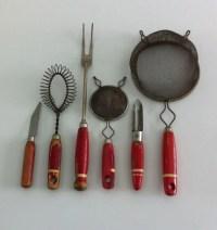 Red handle kitchen utensils vintage kitchen by junkgirlgreen